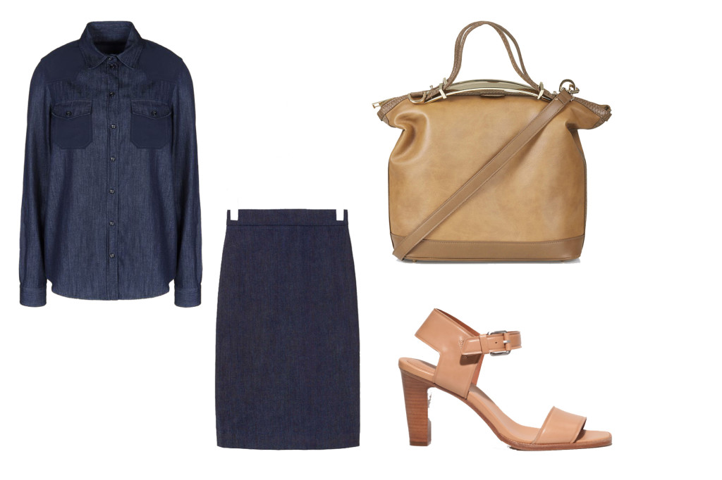 LADYLIKE: camicia tailor cut, gonna pencil, sandalo classico, borsa camel.