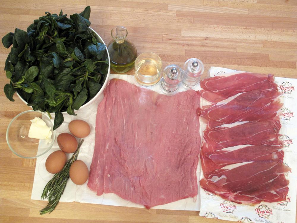 Rotolo di vitello con prosciutto, frittata e spinaci