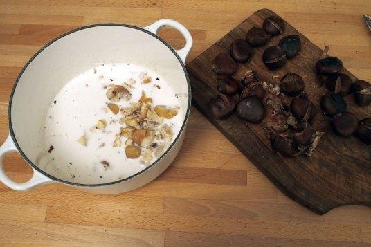 Budino di castagne, panna e cioccolato