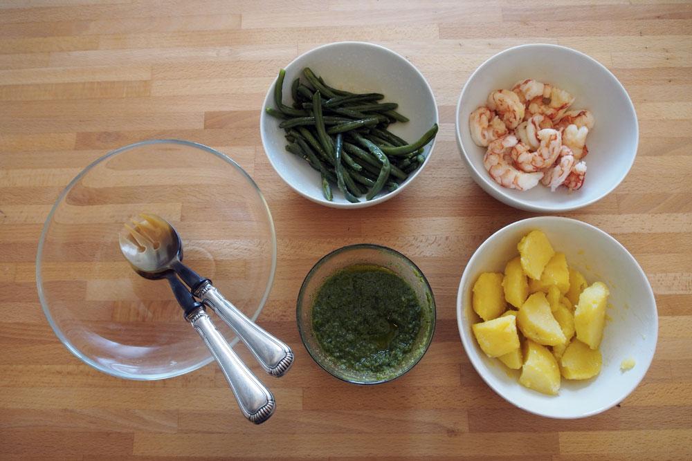 Insalata di gamberi, patate e fagiolini