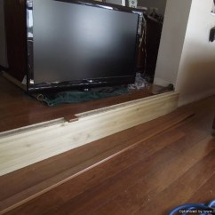 Laminate Flooring Sunken Living Room Ideas With Brown Leather Furniture Installation Concrete Step Down To Have Installed On The