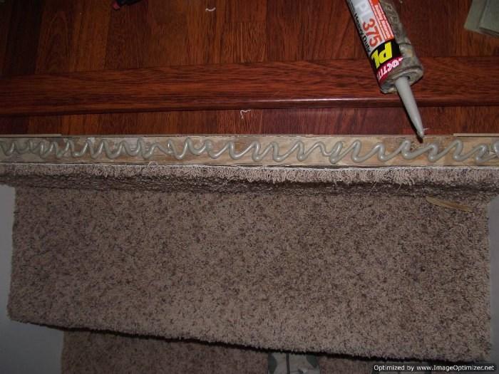 Installing Laminate On Top Stair To Carpet   Attaching Carpet To Stairs   Hardwood   Carpet Tiles   Tackless Str*P   Carpet Runner   Wooden Stairs