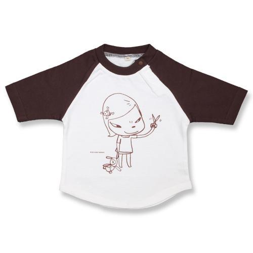 奈良美智 子供用Tシャツ [Real One BBシャツ(白xチョコレート)]