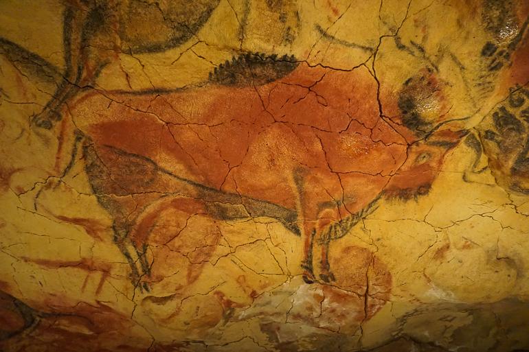 Búfalo pintado en el techo de la cueva de Altamira. Es una pintura rupestre