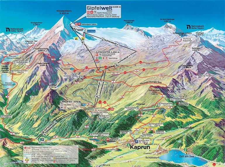 mapa-glaciar-Kitzsteinhorn-austria