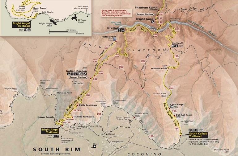 Mapa del South Rim del Gran Cañón