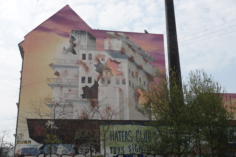 mural edificio en ruinas en norrebro