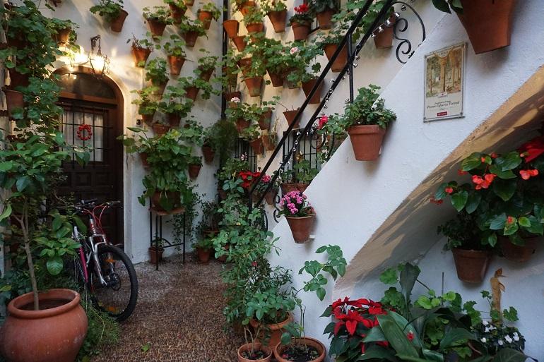 Patio cordobés con macetas colgadas de las paredes y una bicicleta