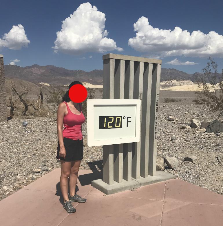 Termómetro a 48.8°C en Death Valley