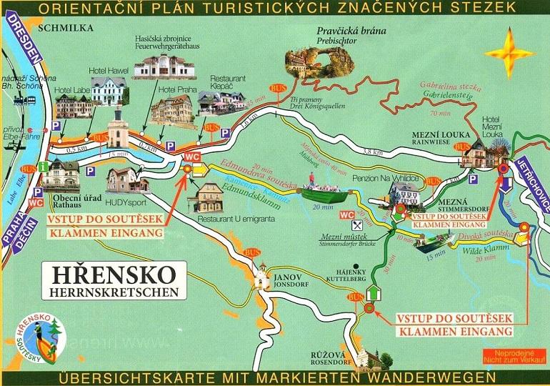 Mapa de las rutas al rededor de la Puerta Pravčice