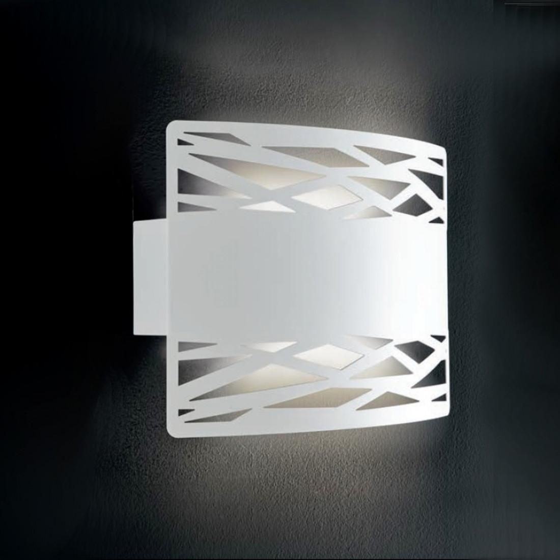 Applique moderna biemissione in metallo bianco con attacco E27 LED