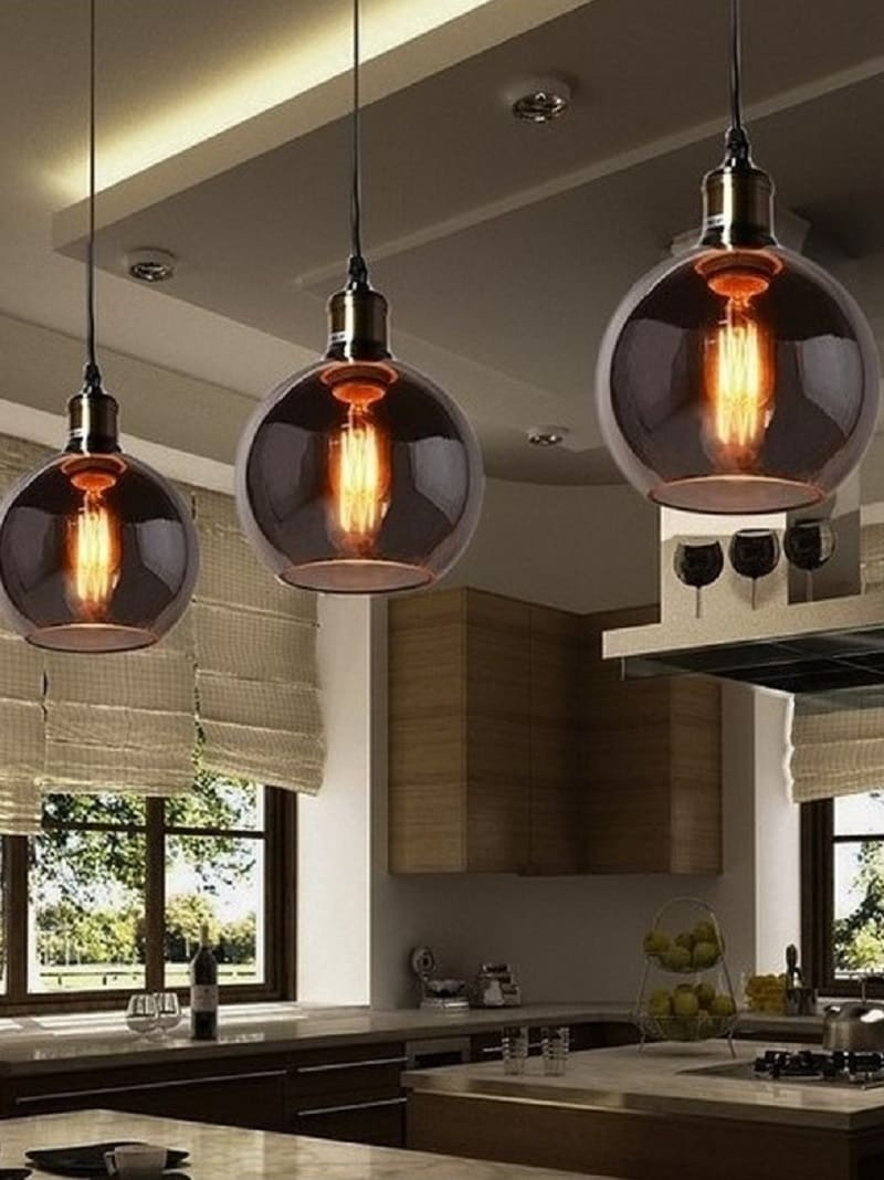 Lampada Vintage a sospensione da soffitto in vetro fum