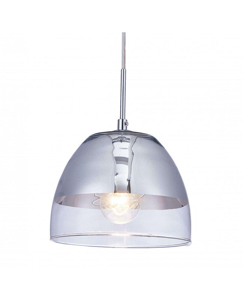 lampadario sospensione design moderno argentato a forma di campana