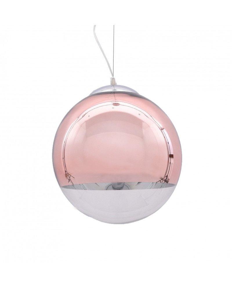 Lampadario sfera vetro a sospensione trasparente e oro rosa