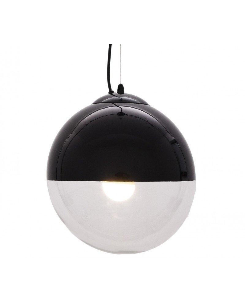lampadario sfera vetro nero pendente