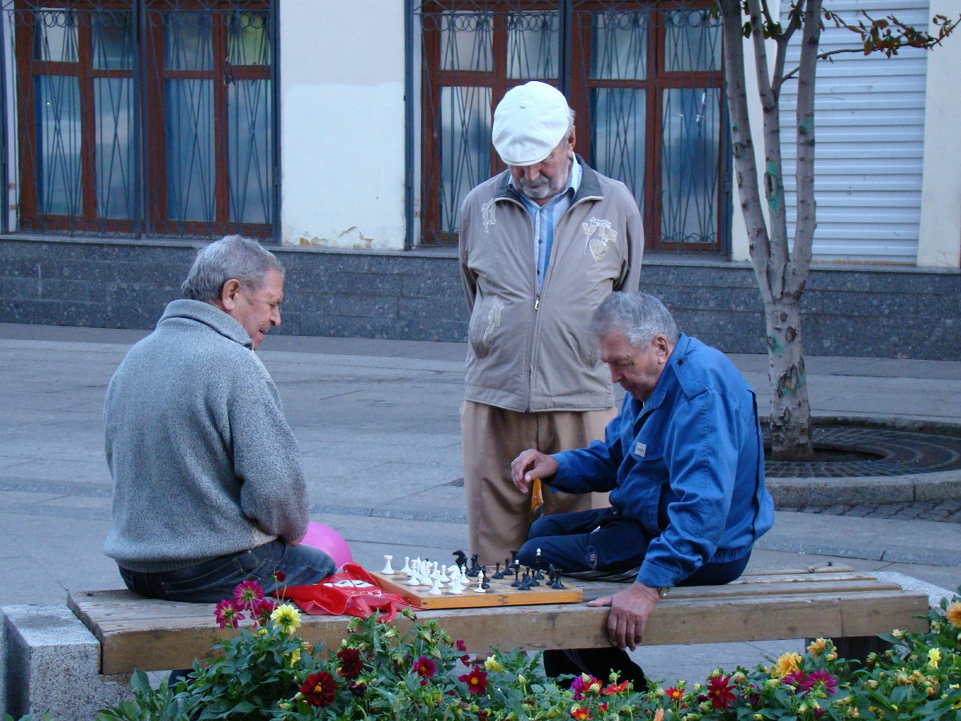 old friends playing chess