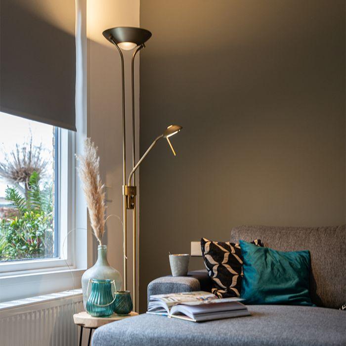 lampadaire en bronze avec lampe de lecture avec led et variateur diva 2