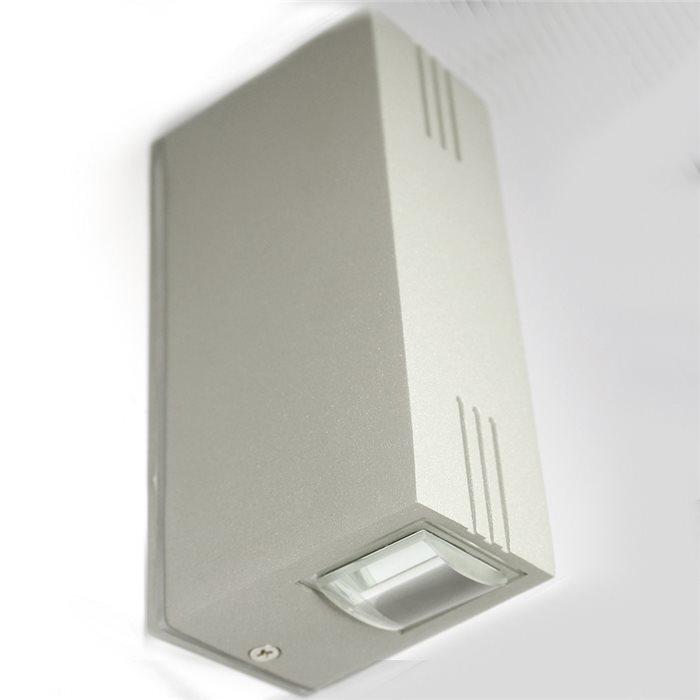 Lampenlux LED Aussenleuchte Kali Wandlampe Wandleuchte Up Down Eckig Silber Aluminium 6W237015