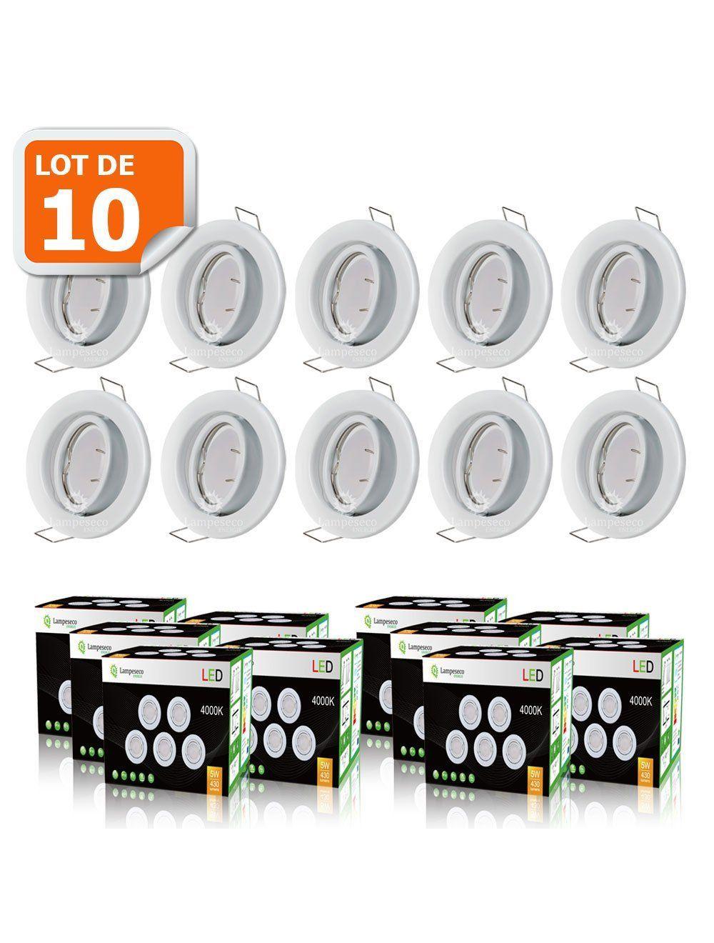 Lot De 10 Spot Led Encastrable Complete Fixe Blanc Avec Ampoule Gu10 230v Eq 50w Blanc Froid 6000k