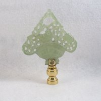 Lamp Finial, Green Jade Basket of Flowers