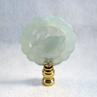 Lamp Finial: Green Jade Flat Disk, Swan Carving