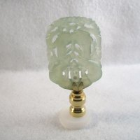 Lamp Finial: Green Jade Flat Carved Rectangle