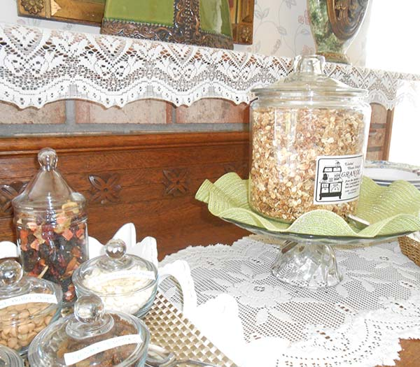 Granola on table at Lamplight Inn Bed & Breakfast near Saratoga Springs