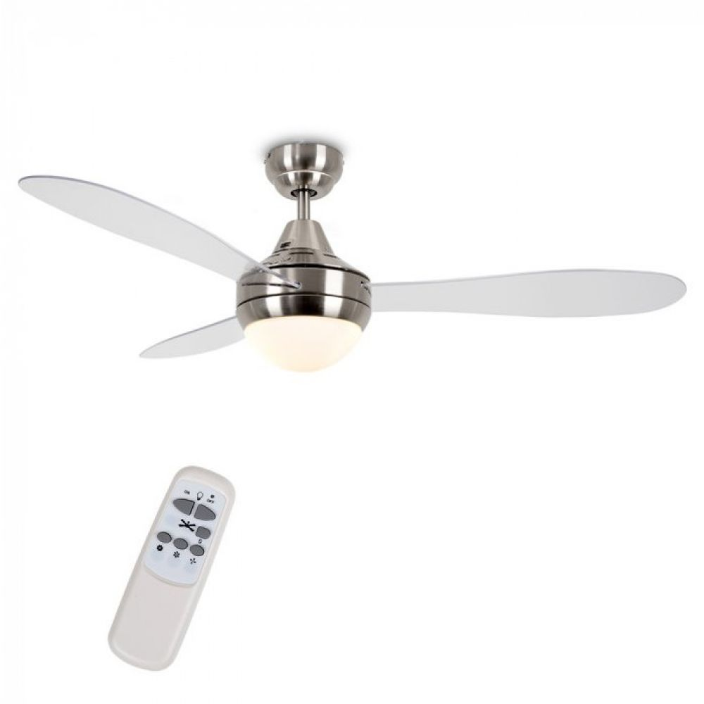 48 Inch Sebring Brushed Chrome Clear Ceiling Fan With Remote Control