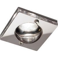 Square Chrome Clear Glass IP65 Rated GU10 Shower Downlight