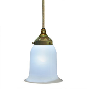 Hand Blown Glass Light Shade In Opalescent White
