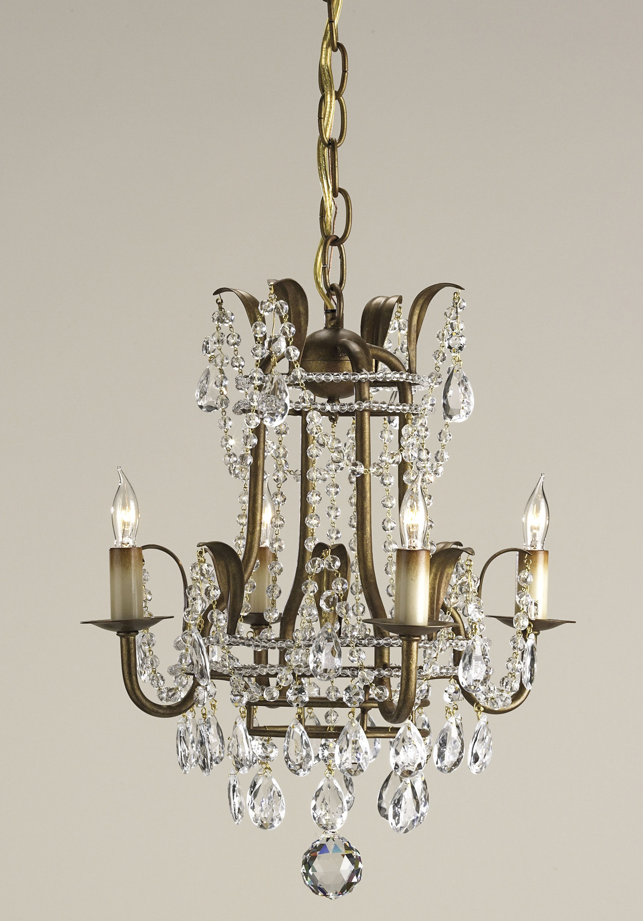 Currey and Company 9543 Crystal Laureate Four Light Mini Chandelier