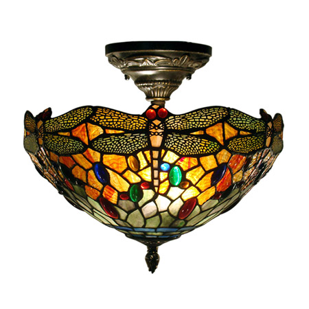 pendant lights for kitchen island stainless steel sinks undermount dale tiffany th12235 sonota dragonfly semi-flush ...