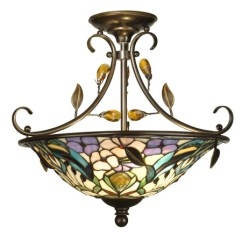 Kitchen Island Light Fixture Unique Canisters Dale Tiffany Th90212 Crystal Jewel Peony Semi ...