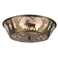 Meyda 108638 Northwoods Moose At Dawn Flush Mount Ceiling ...