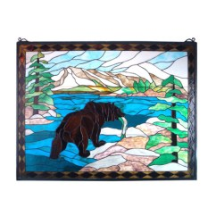 Island Tables For Kitchen Soup Volunteer Houston Meyda 11094 Grizzly Bear Stained Glass Window