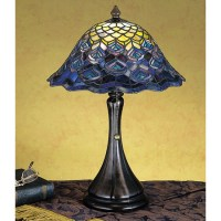 Meyda 28568 Tiffany Peacock Feather Accent Lamp