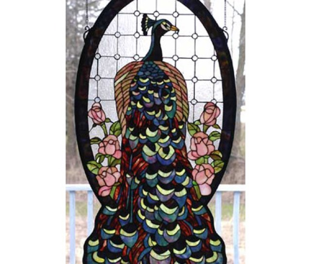 Meyda  Tiffany Oval Peacock Stained Glass Window
