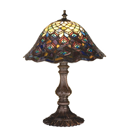 hanging lights for kitchen island designer wall tiles meyda 67885 tiffany peacock feathers table lamp