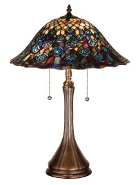 Meyda 14574 Tiffany Peacock Feather Table Lamp