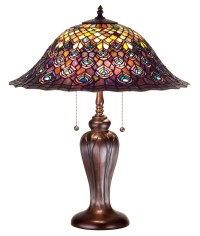 Meyda 26666 Tiffany Peacock Feather Table Lamp