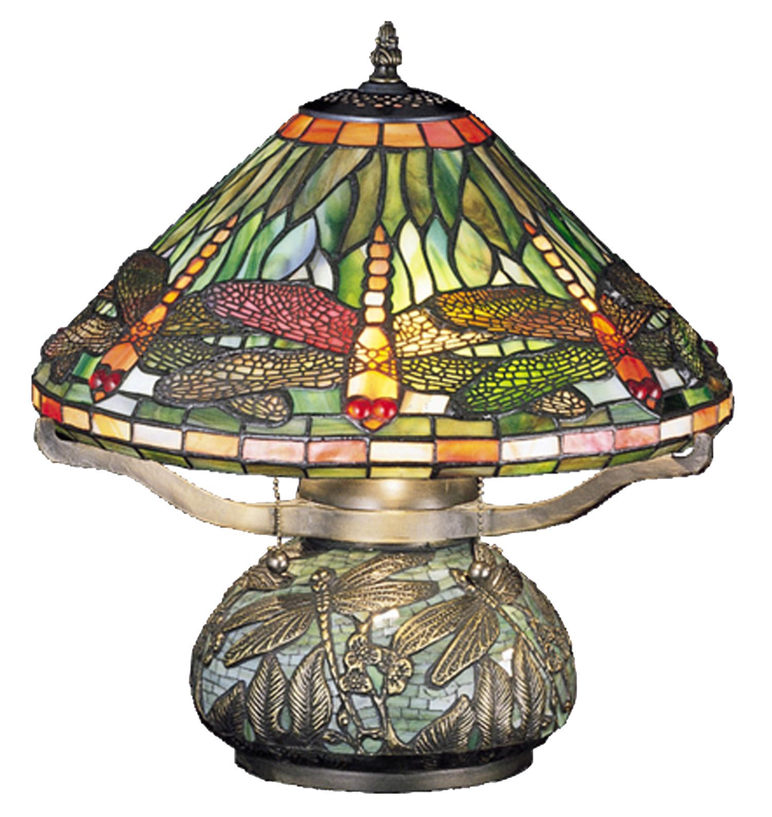 Meyda 26681 Tiffany Dragonfly WTiffany Mosaic Base Table Lamp