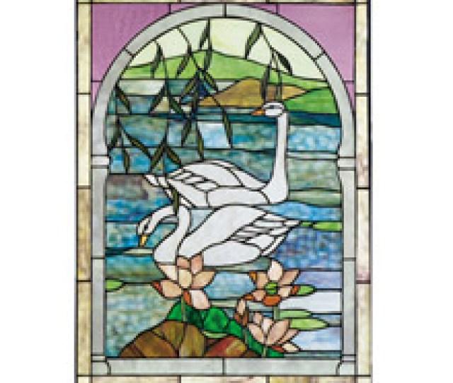 Meyda  Tiffany Swan Stained Glass Window