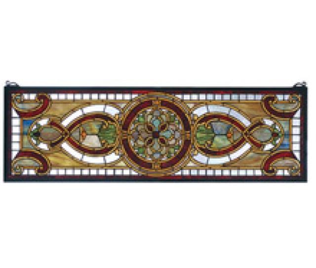Meyda  Tiffany Transom Evelyn In Topaz Stained Glass Window
