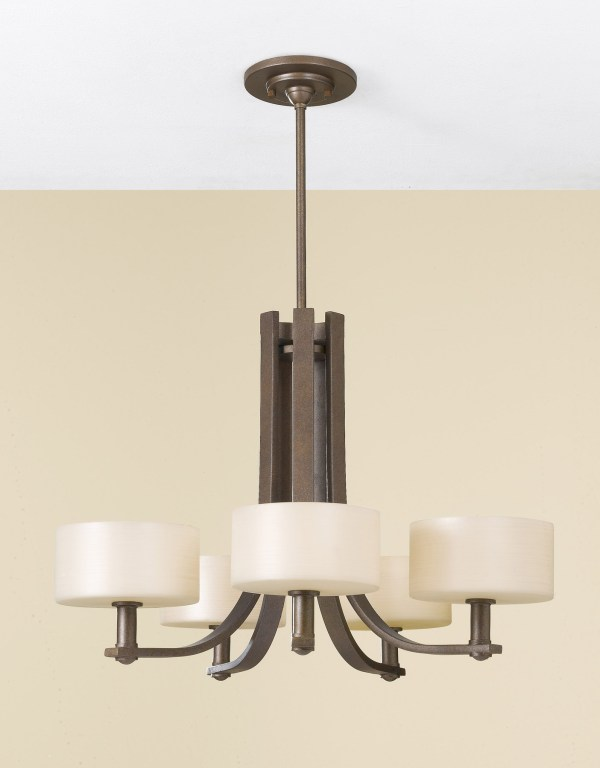 Bronze Drum Shade Chandelier