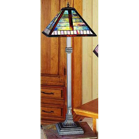 mission style kitchen table laminate paul sahlin tiffany 1249-3 horizontal line pattern buffet lamp