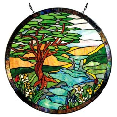 Rustic Kitchen Island Light Fixtures With Chairs Paul Sahlin Tiffany 1305r Landscape Round Stained Glass ...