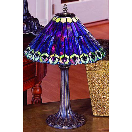 hanging lights for kitchen island rustic paul sahlin tiffany 701 purple peacock table lamp