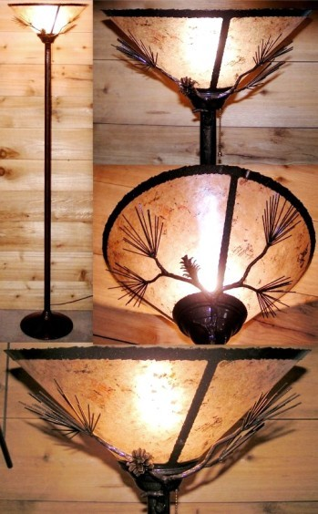 Bronze Rustic Torchiere Lamp Mica Shade  Lamp Shade Pro