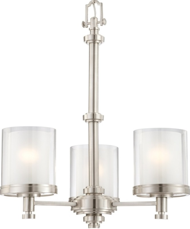 Decker Brushed Nickel Chandelier Glass Shades 3 Lights 20 Wx23 H