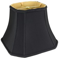 Black Bell Cut Corner Silk Square Lamp Shade | Lamp Shade Pro